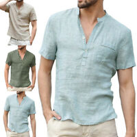Men Linen Short Sleeve T-Shirt Summer Cool Loose Casual V-Neck Top Shirt Holiday