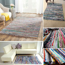 Hand Loomed Vintage Rag Rug CHINDI Multi Color Décor Reversible Carpet 120x170cm