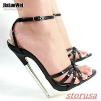 Womens Peep Toe 18cm Super High Heel Shoes Ankle Strap Nightclub Sandals WQ01