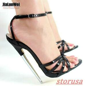 Womens Peep Toe 18cm Super High Heel Shoes Ankle Strap Nightclub Sandals WQ01