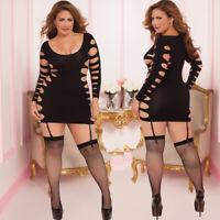 Plus Size Lingerie OS Queen Black Long Sleeve Dress Chemise STM9862X