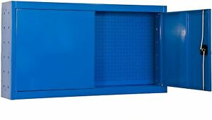 Steel Wall-Mounted Tool Storage Cabinet Cupboard Garage Shop Heavy-Duty w/Keys