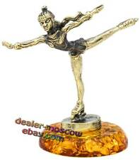Bronze Solid Brass Baltic Amber Figurine Figure Skating First Steps Statuette