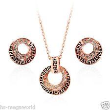 Schmuck Set Halskette Ohringe Damen 18k Gold pl. Swarovski Elements Kristall