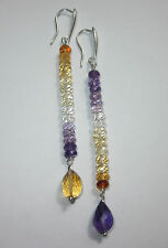 Orecchini argento 925 ametista e citrino Silver Earrings Boucles d'oreilles