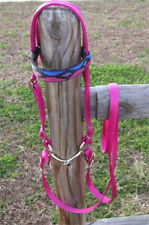 MINIATURE HORSE / SM PONY NYLON  BRIDLE - CUSTOM BROW BAND - RASPBERRY SW
