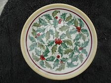 Longaberger American Holly Green Leaves Red Berries White Salad / Luncheon Plate