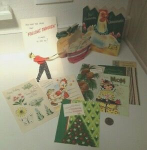 Lot of 10 Vintage 1950 - 60's Greeting Cards