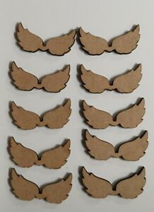 Wooden MDF Angel Wings craft Shapes x10 Plain 50mm Embellishments