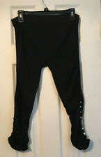 Poplooks Black Ruched Legging with Bling Fits Plus Size