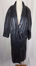 JC Penny Black Leather Maxi Motorcycle Biker Duster Long Trench Coat Womens S