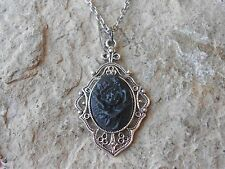 BLACK ROSE CAMEO PENDANT NECKLACE -  GOTH, WICCA, WICCAN, WITCH, HALLOWEEN