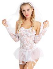 Sexy Disfraz Para Mujer Novia Encaje Malla Lencería Gaceta Disfraz elaborado Ropa para dormir