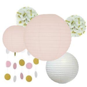 Tissue Paper Pom Poms, Lanterns/Garlands,Pink/White-Weddings/Birthdays/Valentine