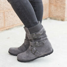 Winter Women Ankle Boot Cloth Snow Boots Shoes Belt Buckle Zip Flats Booties