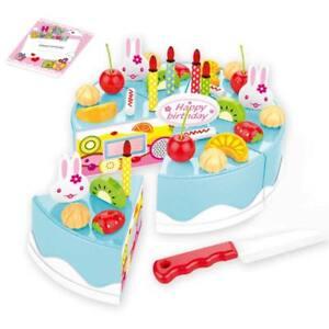 Kids Child Food Cutting Pretend Role Toys Birthday Cake Kitchen Play Toy Set-