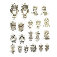 20pcs Mixed Tibetan Silver Owl Charms Pendants For Jewelry Making Craft DIY