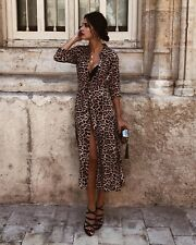 Fashion Women Party Evening Cocktail Long Sleeve V Neck Leopard Print Maxi Dress