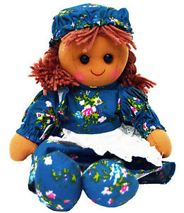 Girl Rag Doll Powell Craft Vintage Blue Floral Dress and Bonnet Large 40cm