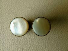 Rare 19th c George West Patent Bachelor/Solitaire Button Cuff-Links M.O.P. Face