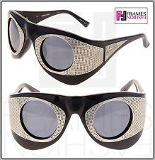 LINDA FARROW TODD LYNN Chunky TL3 Polarized Black Silver Metal Mesh Sunglasses