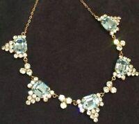 Vintage Art Deco Jewellery Striking Aquamarine Glass Paste Geometric Necklace