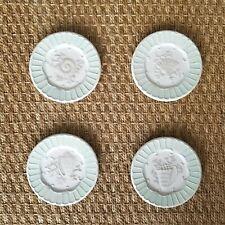 "MWW Market Set of 4 Mini Plates Seashell Raised Ceramic 4.5"" Small Green NEW!"
