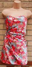 Raro Rosas Luz Azul Fruncido en un lado Corsé ceñido al cuerpo de baile de graduación Fiesta Vestido 14 L