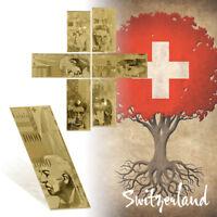 WR Banknote Set Switzerland Schweizer Franken 20 - 1000 Franken 24k Goldgeld