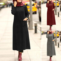 ZANZEA 8-24 Women Long Sleeve Sweatshirt Dress Kaftan Abaya Button Up Maxi Dress