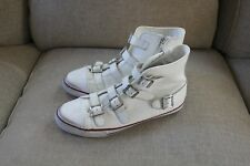New Limited By A.S.H White Leather Zip Sides Buckle Up High Top Sneakers 10.5 US