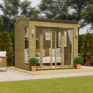 B-GRADE 8 x 6 Wooden Garden Summerhouse Sunroom With French Doors Long Window