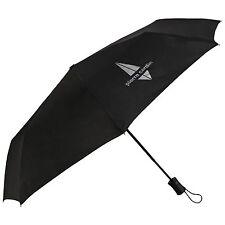 Abrir el mango corto Pierre Cardin automático de plata con el logotipo de Caballeros Paraguas en negro