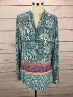 CATO Women's Size M Floral Print Long Sleeve Button Up Tunic Top Blie Pink