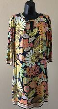 TRINA TURK 5392 NEW Womens Multi-color 3/4 Sleeve Printed Dress 4 Retail $298.00