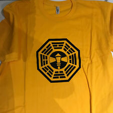 LOST TV SHOW T Shirt. THE LAMP POST STATION. DHARMA. XL. Gold. New.