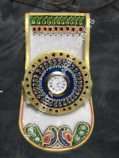 """4"""" Marble Hand Painted Clock Stunning Peacock Multi Design Home Office Gift E526"""