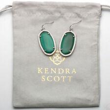 New Kendra Scott ELLE Silver Drop Earrings in Emerald Cat's Eye