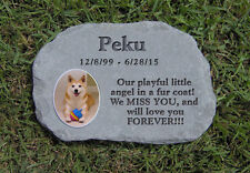 Outdoor Blue stone Photo Pet Stone Rock Memorial Personalized