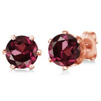 2.00 Ct Round Red Rhodolite Garnet Gold Plated 6-prong Stud Earrings 6mm