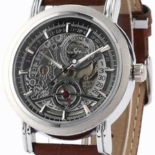 Winner Automatic Stainless Steel Skeleton Mechanical Watch Brown Leather Strap