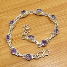 """Bracelet Jewelry 8.50 """" Inch Abre23 925 Sterling Silver Plated Amehyst Gemstone"""