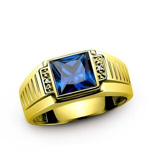Mens Sapphire Ring REAL 14K SOLID GOLD with DIAMOND Accents Fine jewelry all sz