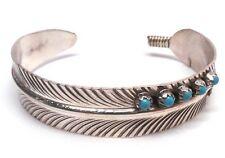 Native Navajo Sterling Silver Turquoise Feather Bracelet - Vivian Jones