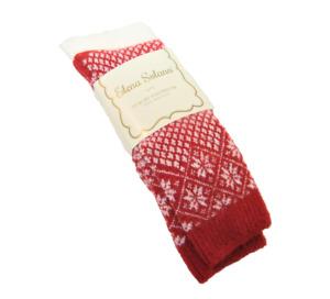 2 PR Elena Solano Italy Ladies Midcalf Boot Socks Angora Blend Snowflake Red