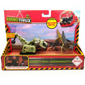Mattel Dinotrux CAMO TY RUX&SCRAPADACTYL Diecast Dreamworks Toy Kids Gift New