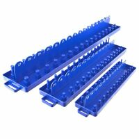 "3pc ABS Plastic Socket Holder Tray Sets Metric 1/4"" , 3/8"" , 1/2"" dr Rail"