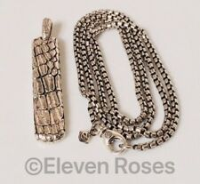 Men's David Yurman Naturals Gator Tag & Box Chain Necklace 925 Sterling Silver