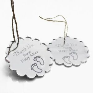 Personalized Engraved Silver Mirror Baby Shower Tags Mini Baby Birthday Gifts