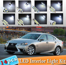 14-pc White LED Interior Light Bulbs Package Kit Fit 2014-2017 Lexus IS250 IS350